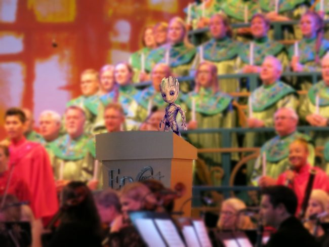 Baby Groot narrates Epcot's Candlelight Processional