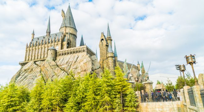 Hogwarts School of Witchcraft Castle and Wizardry replica at The Wizarding World of Harry Potter Attraction, at Universal Studio, Osaka, Japan.