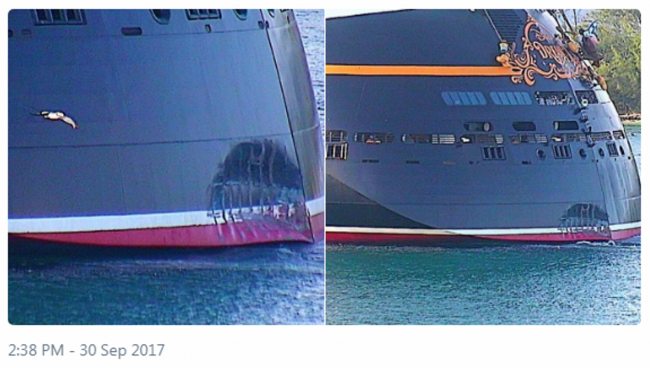 Disney Dream Damage. Photo by PortNassauWebcam.com, via Twitter @PTZtv.
