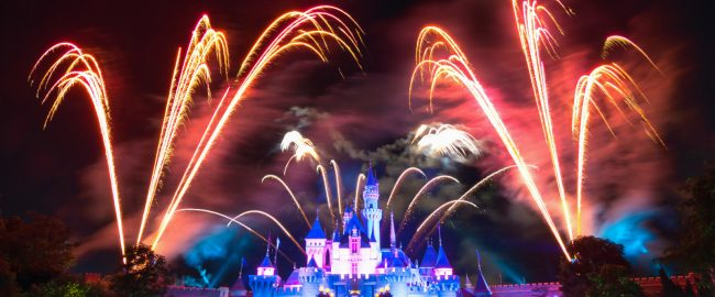 Non-organic fireworks over Sleeping Beauty Castle