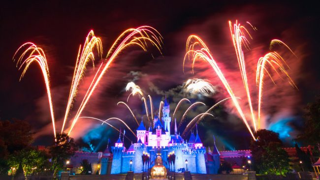 Non-organic fireworks over Sleeping Beauty Castle