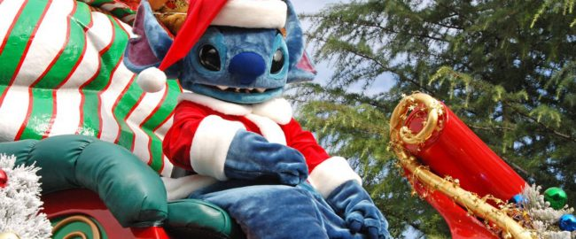Santa Stitch riding on a stolen sleigh at Disneyland Park in California.