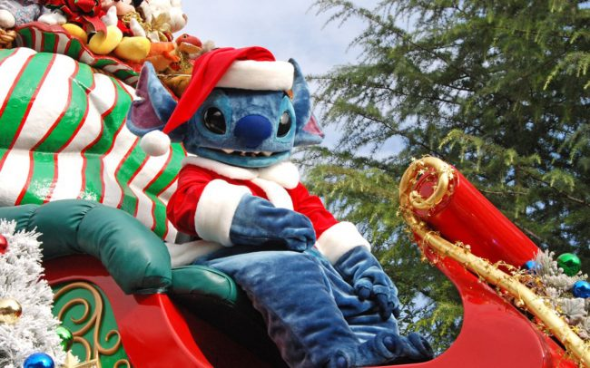 Santa Stitch riding on a stolen sleigh at Disneyland Park in California.