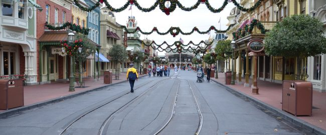 A near-empty Main Street USA at Disneyland on Christmas morning.
