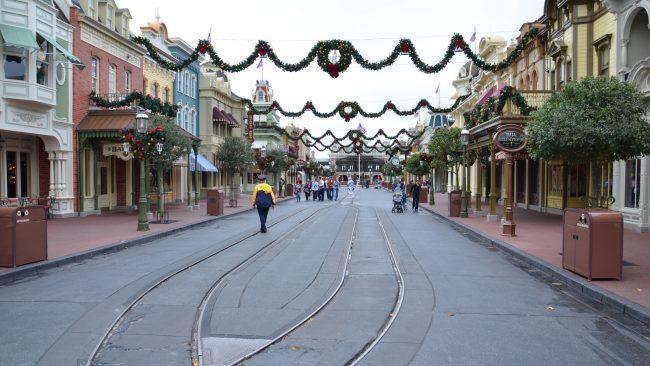 A near-empty Main Street USA at Disneyland on Christmas morning.