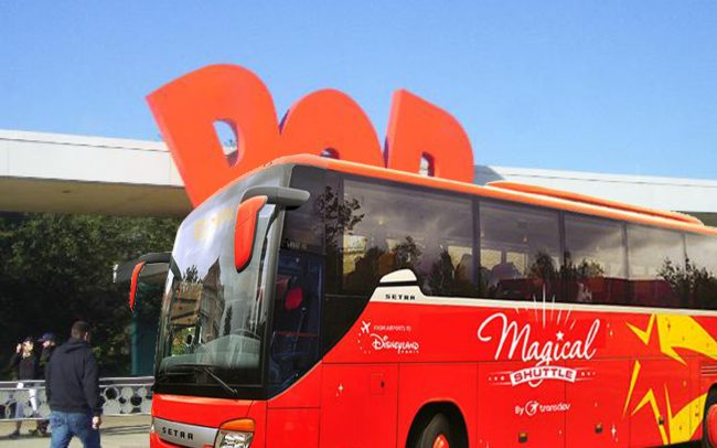 A bus from Disneyland Paris makes a surprise stop at Walt Disney World's Pop Century Resort.