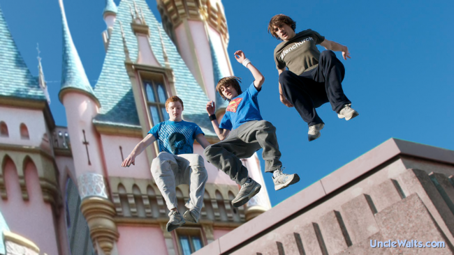 Disneyland Parkour, a new travel destination available from Adventures by Disney. Photo credit: Carterhawk [CC BY-SA 3.0] and THOR (Parkour Foundation Winter) [CC BY 2.0], both via Wikimedia Commons; modified.