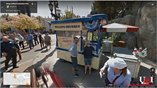 A churro cart at Disney's California Adventure. Photo copyright 2018 Google / Street View.