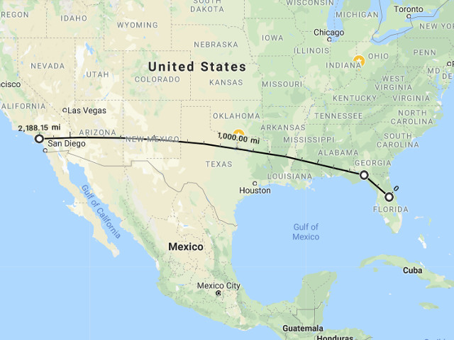 Projected path of interstate Skyliner. Image (c) 2018 Google / Maps.