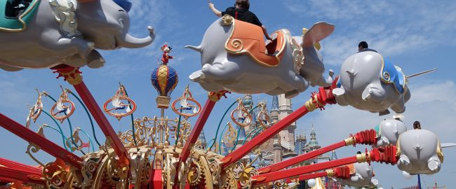Dumbo the Flying Elephant, visiting Shanghai. Photo by Jeremy Thompson [CC BY 2.0] via Flikr.
