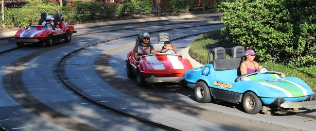 A few of the remaining functional cars at Tomorrowland Speedway. Photo by Theme Park Tourist [CC BY 2.0], via Wikimedia Commons.