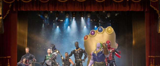Publicity still from Avengers: Infinity War: the Musical. Photo via Shutterstock and news.com.au.