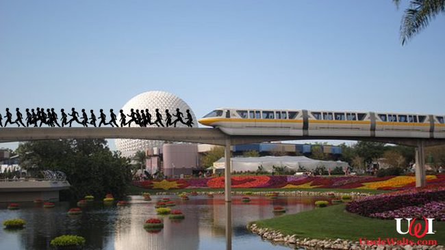 "Artist's conception of the ""RunDisney 11.9K at the Walt Disney World Resort & Spa Epcot Line on the resort's Monorail Transportation System Epcot Loop."" Photo courtesy TripAdvisor."