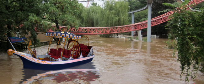 Chocolate river boat ride at Hershey Park, Pennsylvania.