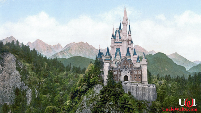 """Artist's conception of the remodeled """"Cinderellschwanstein Castle."""" Photos from Pixabay & Pxhere."""