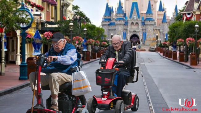 Len Henry and Webster Pryor racing down Main Street USA.