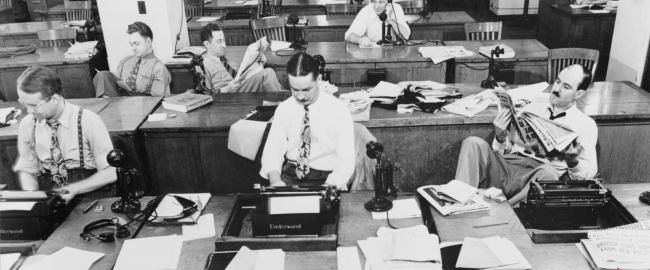 Uncle Walt's Insider newsroom back in the heyday of the 1940's. Public domain, courtesy of Pixabay.