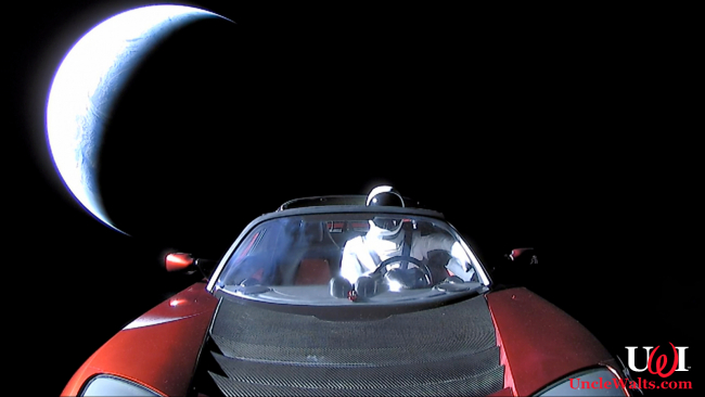 Space-going Tesla Roadster with Starman. Public Domain.