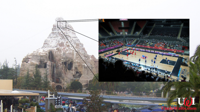 Composite photo of Disneyland's Matterhorn and its basketball court by JeroenZ85 [CC BY-SA 3.0] & jon smith [CC BY-SA 2.0] via Wikimedia Commons.