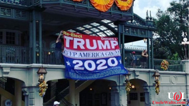 Disney's new political advertising in their theme parks. Photo by shelbypickitt via Instagram.