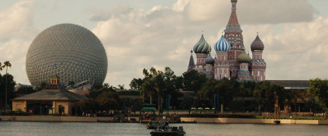 The Russia Pavilion at Epcot's World Showcase, with Spaceship Earth in the background. Photo by Eric Marshall [CC BY 3.0] via Wikimedia Commons.