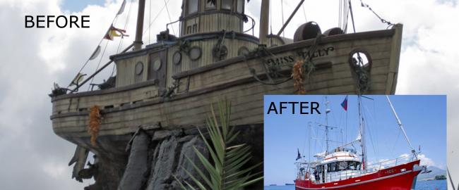 Miss Tilly before and after restoration. Before photo by Matthew Hull via wdwinfo.com. After photo courtesy of Magnolia Shrimping Ltd.