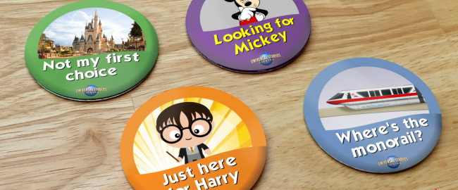 """The free """"celebration"""" buttons at Universal Orlando."""