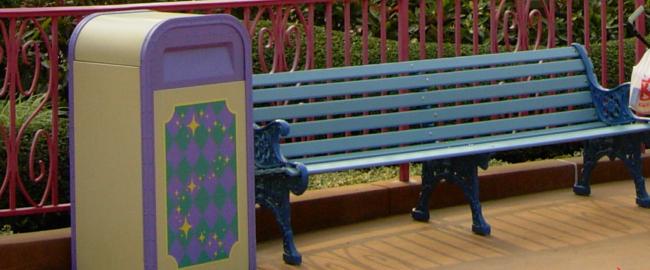 Disneyland bench. Okay, Hong Kong Disneyland bench. Photo by Xiquinho Silva [CC BY-SA 2.0] via Wikimedia Commons