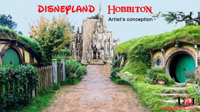 Artist's concept of Disneyland Hobbiton, the view up Main Street Middle Earth.