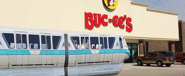 The Disney monorail stopping at the number one Texas landmark, Buc-ee's. Photo by lee leblanc [CC BY 2.0] via Flickr.