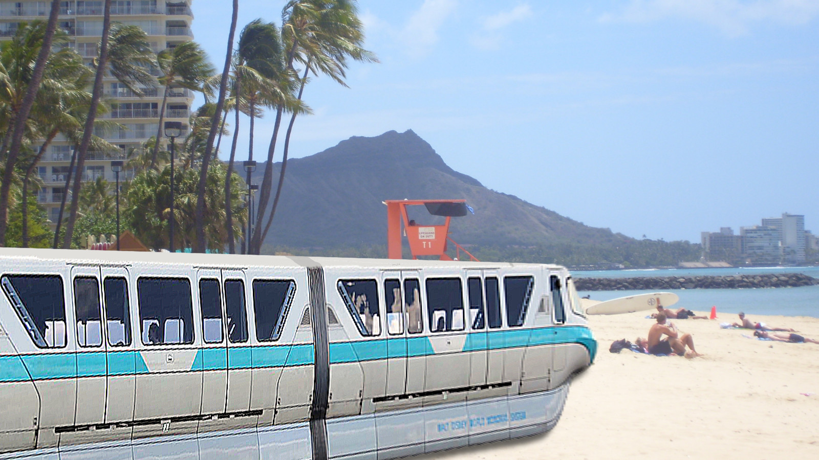 The monorail catches some rays on Waikiki Beach. Photo by Jackie Gleason [CC0] via Wikimedia Commons.