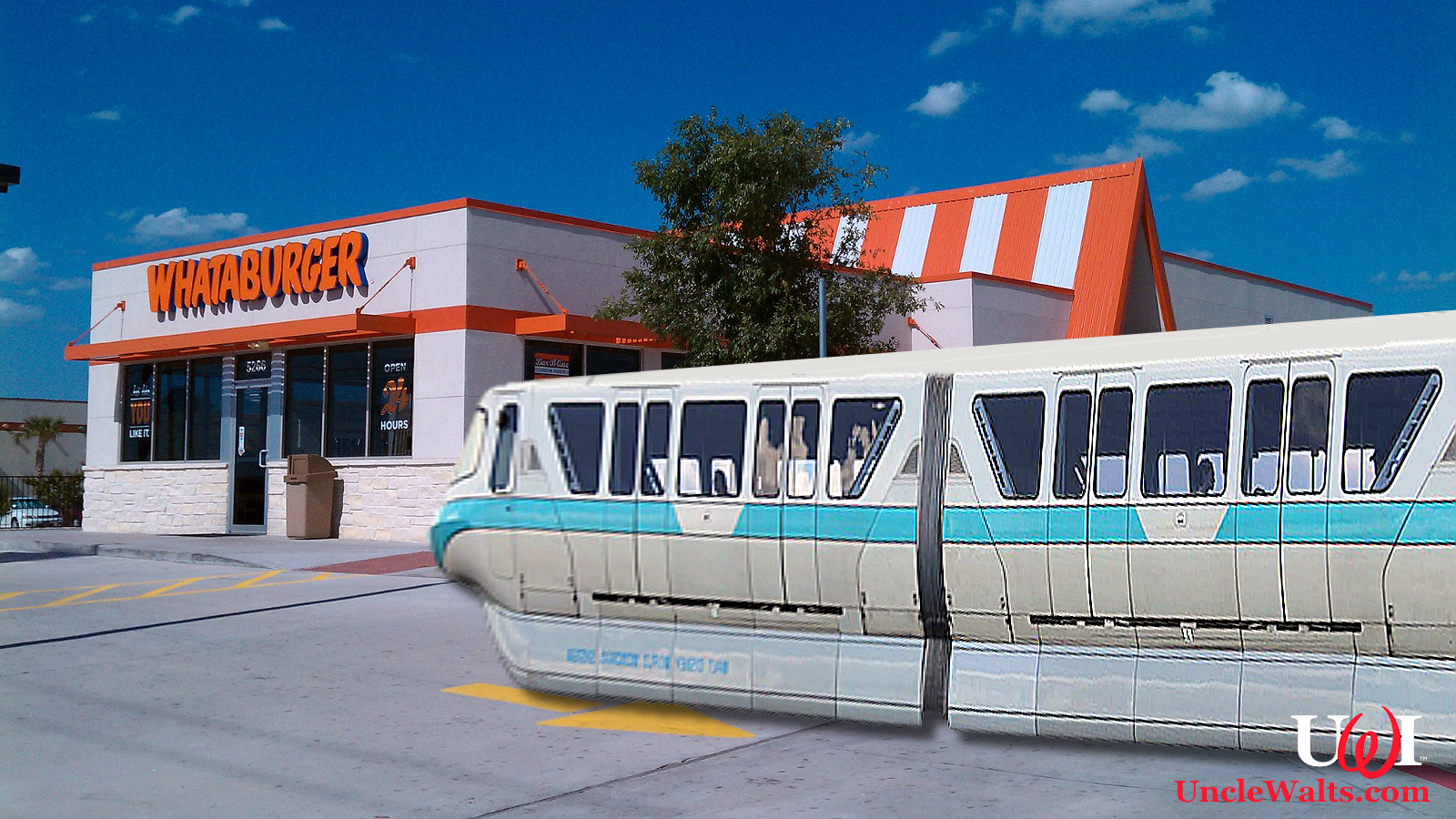 The monorail visits Whataburger. Photo by Jonesdr77 [CC BY-SA 3.0] via Wikimedia Commons.