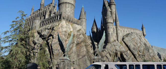 The monorail goodwill tour visits the Wizarding World of Harry Potter at Universal Hollywood. Photo by Jeremy Thompson [CC BY 2.0] via Flickr.
