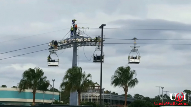 The new open-air gondola cars on the Disney Skyliner. Video still courtesy Passport to the Parks via YouTube.