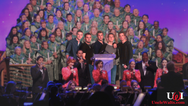 N*Sync narrating the Candlelight Processional. Photo courtesy Zannaland.com.