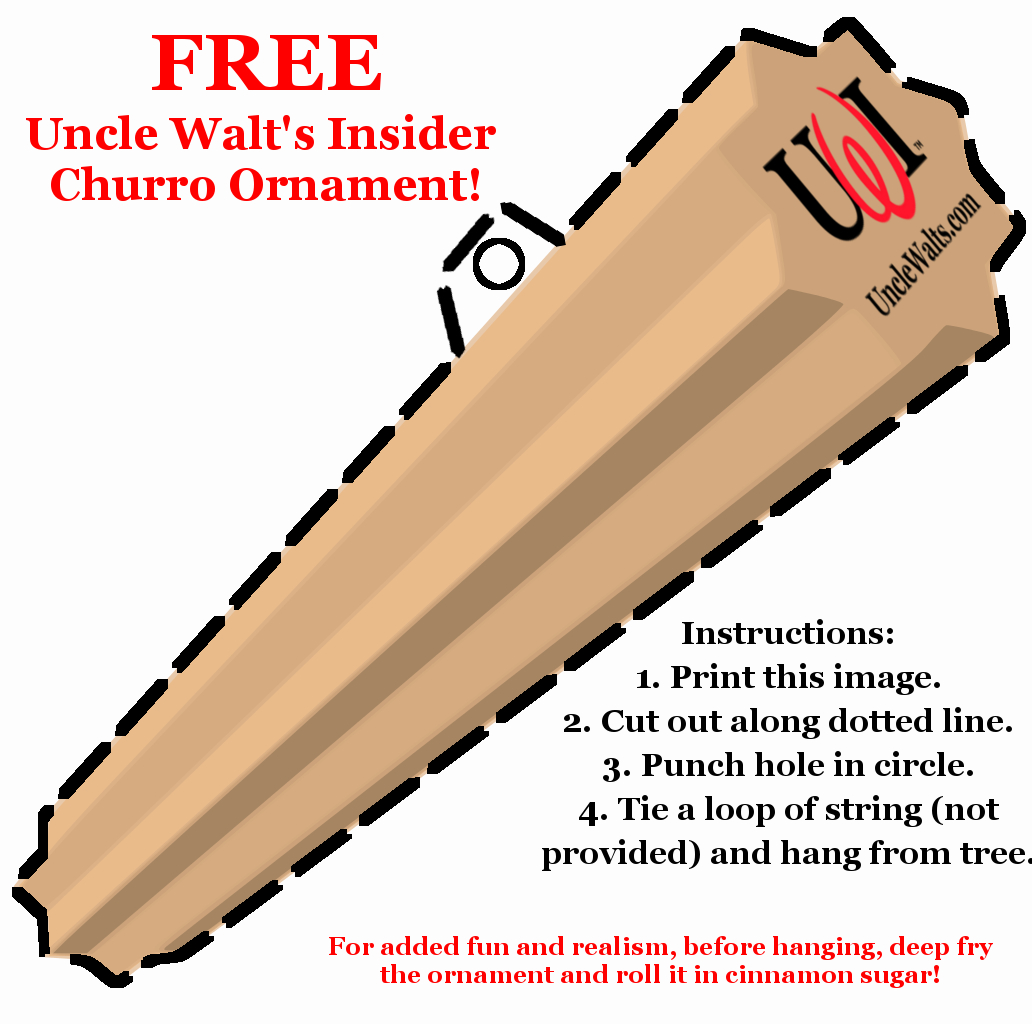 Uncle Walt's FREE Churro Christmas Tree Ornament - just print and cut out!