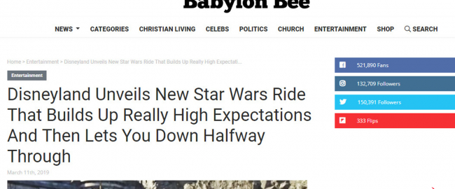 The Babylon Bee is muscling in on our turf!