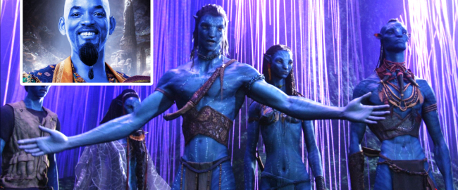 Na'vi protestors, with Will Smith as the Genie (inset). Photo courtesy wallpapertag.com; inset photo © 2019 Disney.