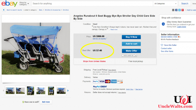 A non-Disney-friendly, and therefore worthless, stroller. Photo courtesy eBay.