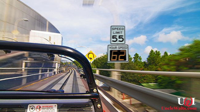Test Track, with new speed measuring signs. Photo courtesy Disney Tourist Blog, modified & used by permission.