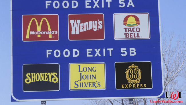 Club 33 Express fast food on a highway exit sign. Photo from DepositPhotos.com, modified.