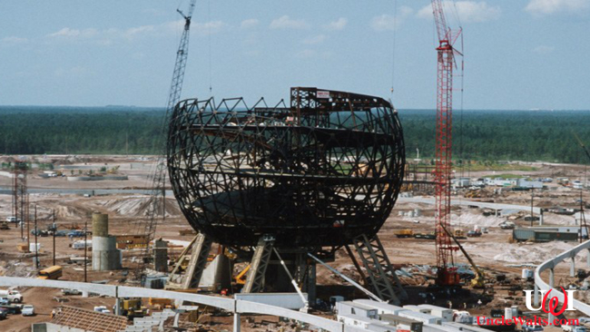 The partially dismantled Spaceship Earth. Photo © Disney.