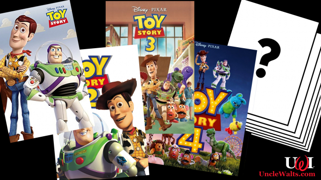 Posters for the current and future Toy Story films. Posters by Disney/Pixar; Question mark by Mouser font via GIMP.