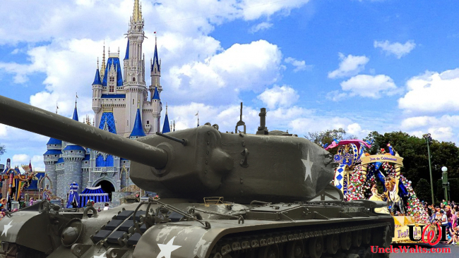 Disney is adding military might to its parades! Photo by Jennifer Lynn [CC BY 2.0] via Flickr & chuckgray via Pixabay.
