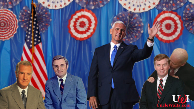 A few of the VP cutouts in the new Hall of Vice Presidents. Photo courtesy Picryl, And NicePNG. And several other public domain sources.