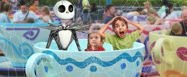 Jack Skellington joins the Teacup ride! Photo by William Warby [CC BY 2.0] via Flickr.