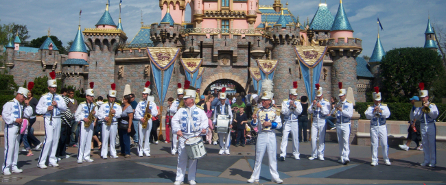 "The Disneyland Band plays royalty-free music ""Carefree"" by Kevin MacLeod. Photo by Loren Javier [CC BY-ND 2.0] via Flickr."
