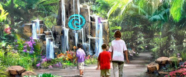 Concept art for the new Moana themed entrance to the Epcot restrooms. Photo © Disney via Disney Parks Blog.