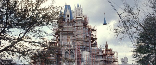Cinderella Castle is almost reassembled after the threat from Hurricane Dorian. Photo by Disney via NBC News.