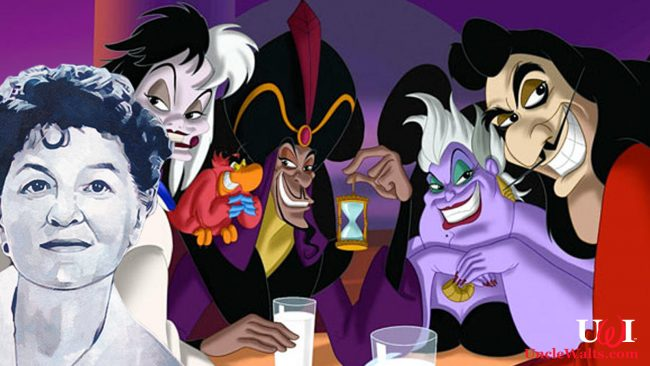 P.L. Travers joins the Disney villains -- and immediately intimidates them. Photo by Disney & telegraph.co.uk.